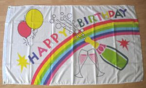 Happy Birthday Celebrations Large Flag - 5' x 3'.